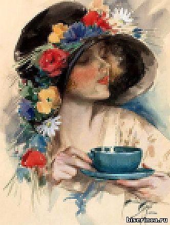 Схема для вышивки Девушка с чашкой чая
